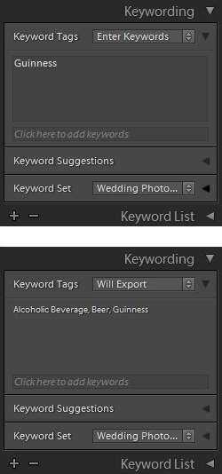 Exporting keywords from Adobe Lightroom